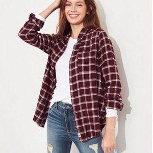 Hollister Burgundy Plaid Flannel Button Up Shirt